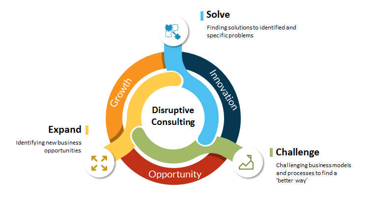 Diagram showing disruptive consulting engagement types